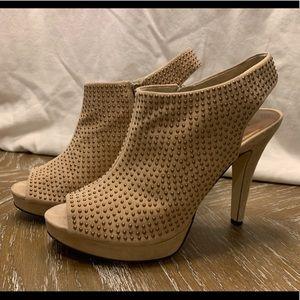 Reba Gold Studded Tan Open Toe Bootie Heels